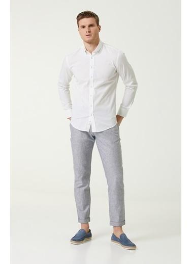 NetWork Erkek 1079971 Slim Fit Keten Gömlek Beyaz